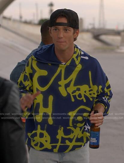 Zinn's blue graffiti hoodie on American Horror Stories