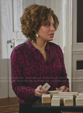 Abigail's green draped front blouse on Good Witch
