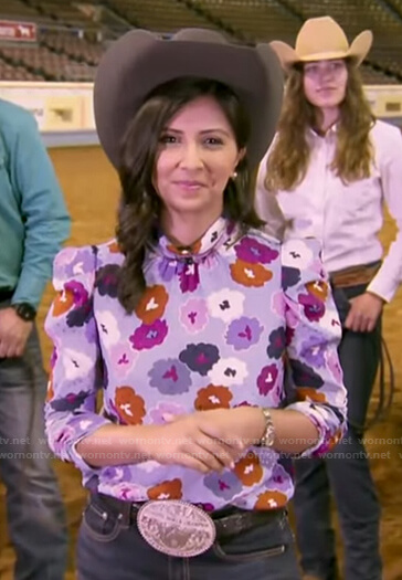 Zohreen Shah's floral mock neck top on Good Morning America