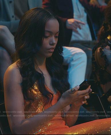 Zoya's sequin orange dress on Gossip Girl