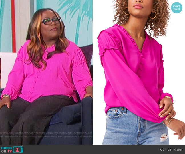 Ruffled-Trim Blouse by 1.State worn by Sheryl Underwood  on The Talk