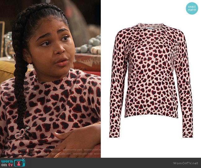 27 Miles Malibu Heart-Print Cashmere Sweater worn by Millicent (Jaidyn Triplett) on iCarly