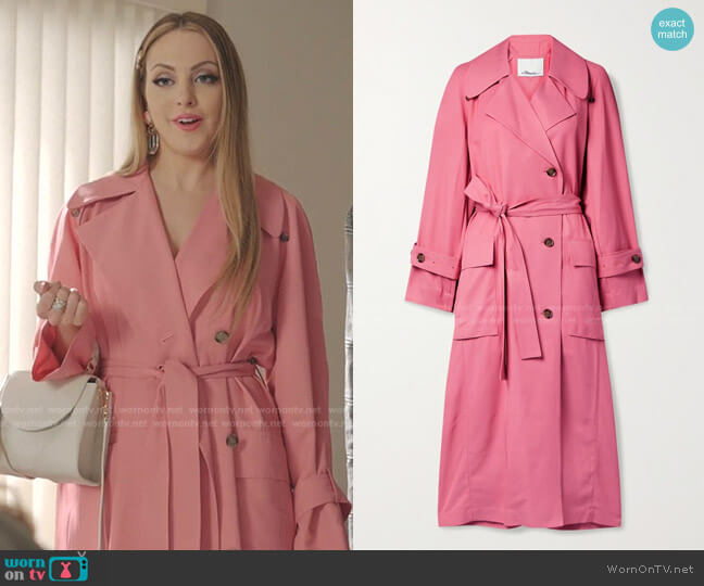 Flou Belted Double-Breasted Twill Trench Coat by 3.1 Phillip Lim worn by Fallon Carrington (Elizabeth Gillies) on Dynasty