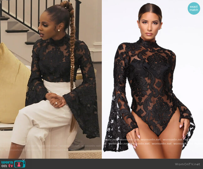 A Night Downtown Mesh Bodysuit by Fashion Nova worn by Candiace Dillard Bassett  on The Real Housewives of Potomac