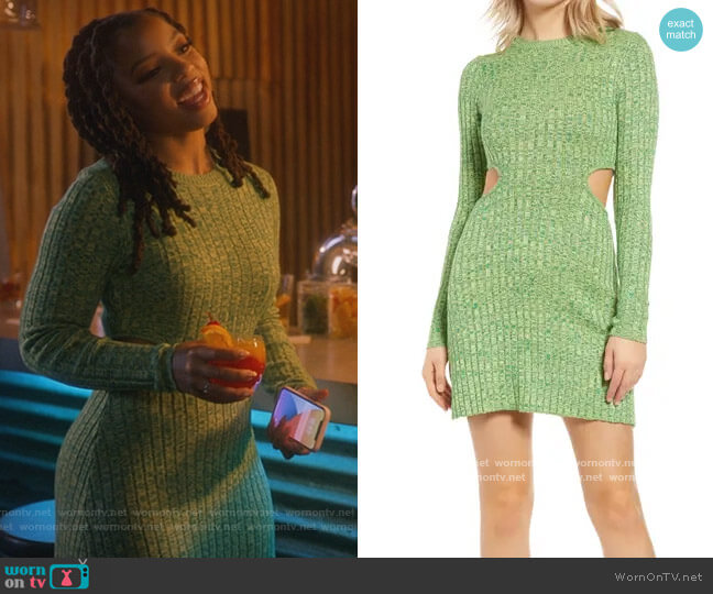 Dove Cutout Long Sleeve Ribbed Sweater Dress by AFRM worn by Jazlyn Forster (Chloe Bailey) on Grown-ish