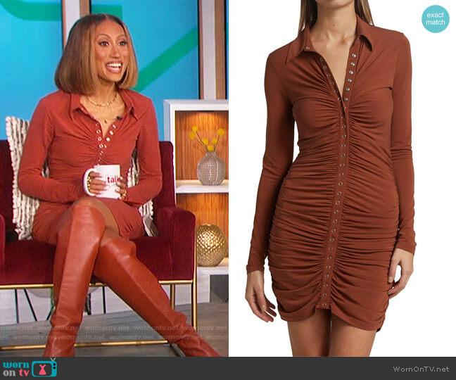 Larsen Ruched Jersey Mini Dress by A.L.C. worn by Elaine Welteroth  on The Talk