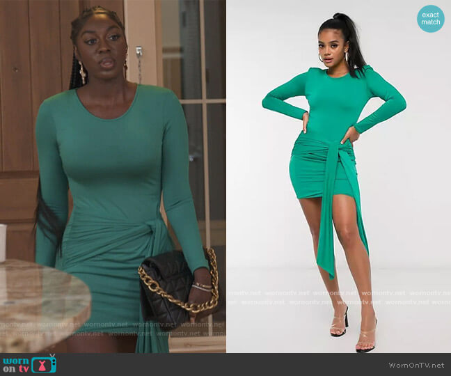 Long Sleeve Ruched Tie Front Mini Dress by Aria Cove worn by Wendy Osefo  on The Real Housewives of Potomac