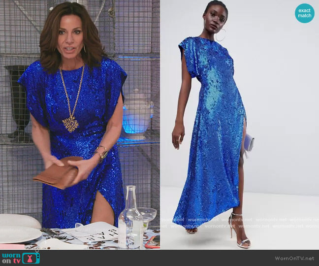 Split Side Midi Dress in sequin by ASOS worn by Luann de Lesseps  on The Real Housewives of New York City