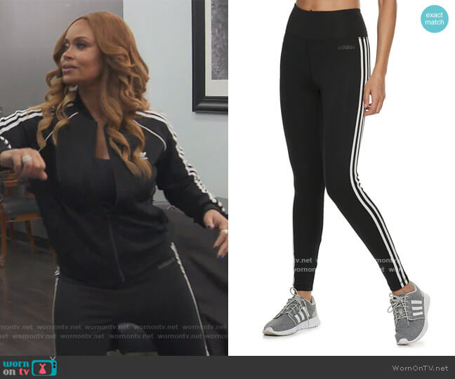 Designed to Move 3-Stripe High-Waisted Leggings by Adidas worn by Gizelle Bryant  on The Real Housewives of Potomac