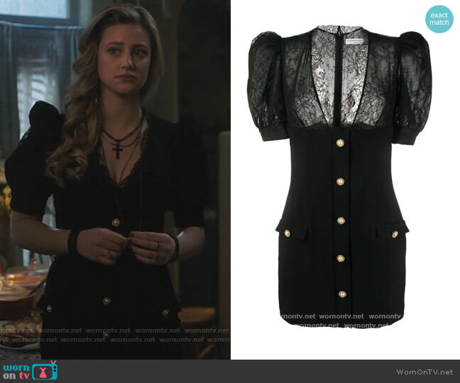 Lace-Panelled Mini Dress by Alessandra Rich worn by Betty Cooper (Lili Reinhart) on Riverdale