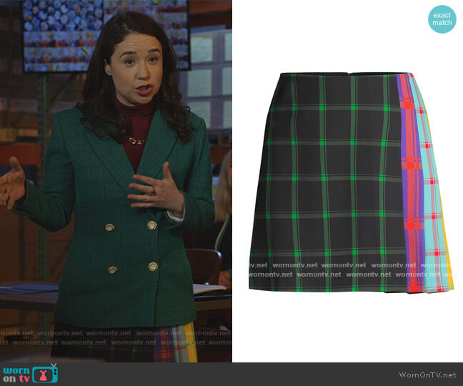 Semira Multicolor Side-Pleat Plaid Mini A-Line Skirt by Alice + Olivia worn by Marissa Gold (Sarah Steele) on The Good Fight