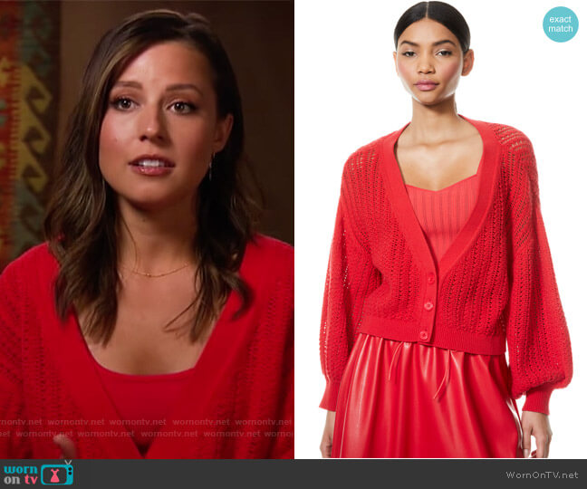Winsor Deep-V Slouchy Cardigan by Alice + Olivia worn by Katie Thurston  on The Bachelorette