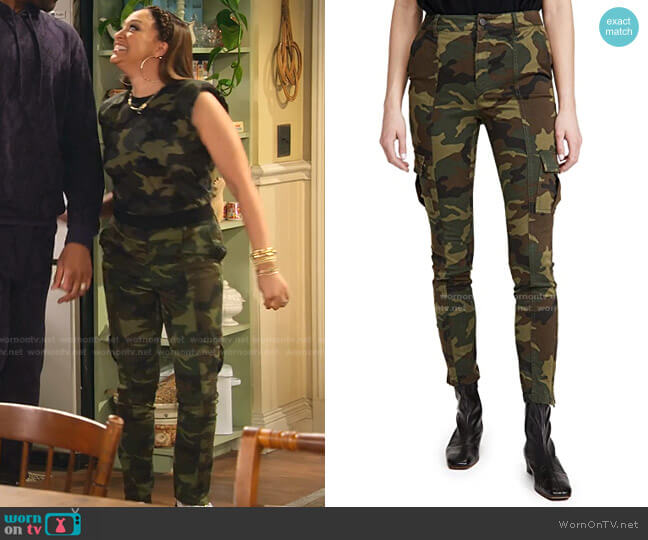 Keith Slim Fit Cargo Pants by Alice + Olivia worn by Cocoa McKellan (Tia Mowry-Hardrict) on Family Reunion