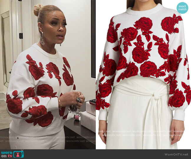 Carwen Embroidered Balloon-Sleeve Knit Sweater by Alice + Olivia worn by Gizelle Bryant  on The Real Housewives of Potomac