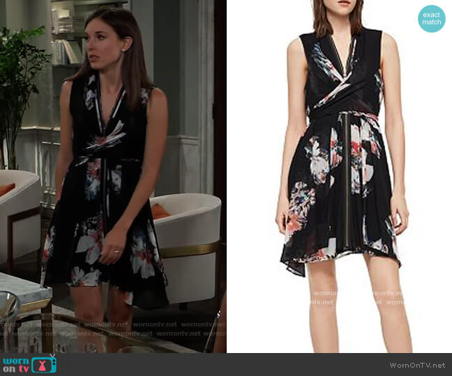 Jayda Floral-Print Zip-Front Dress by All Saints worn by Willow Tait (Katelyn MacMullen) on General Hospital