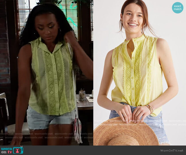 Pilcro Lace Blouse by Anthropologie worn by Trina (Sydney Mikayla) on General Hospital