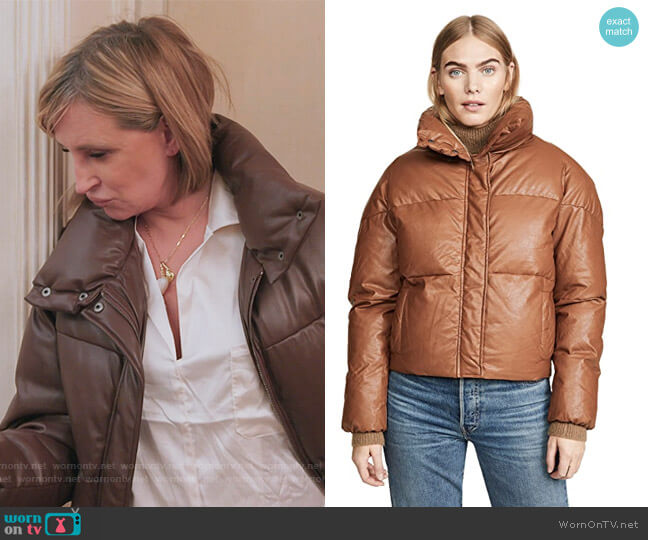 Camila Vegan Leather Puffer Jacket Apparis worn by Sonja Morgan  on The Real Housewives of New York City