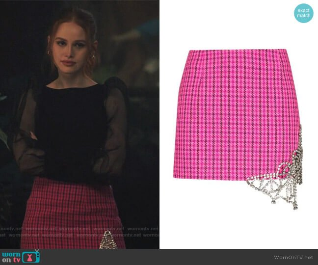 Crystal Butterfly Cutout Miniskirt by Area worn by Cheryl Blossom (Madelaine Petsch) on Riverdale