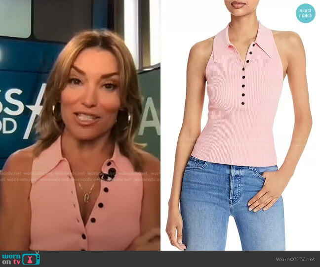Asher Ribbed Top by A.L.C. worn by Kit Hoover  on Access Hollywood
