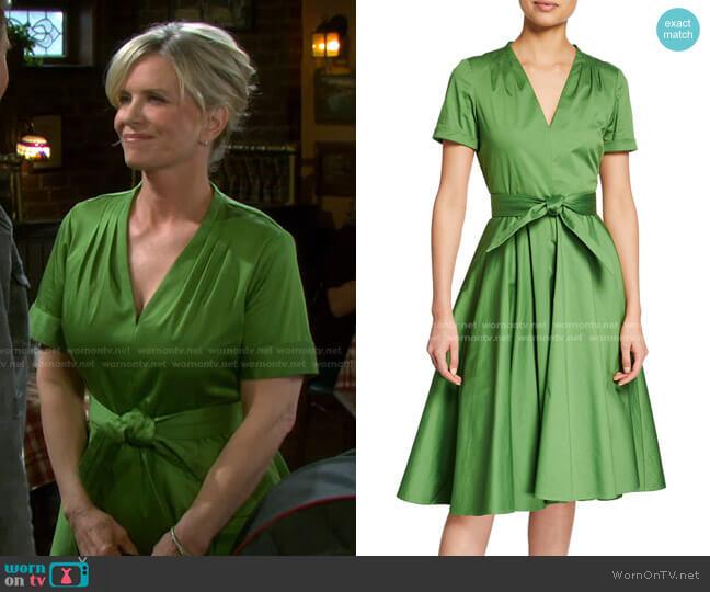 Belted V-Neck A-Line Short-Sleeve Dress by Badgley Mischka worn by Kayla Brady (Mary Beth Evans) on Days of our Lives