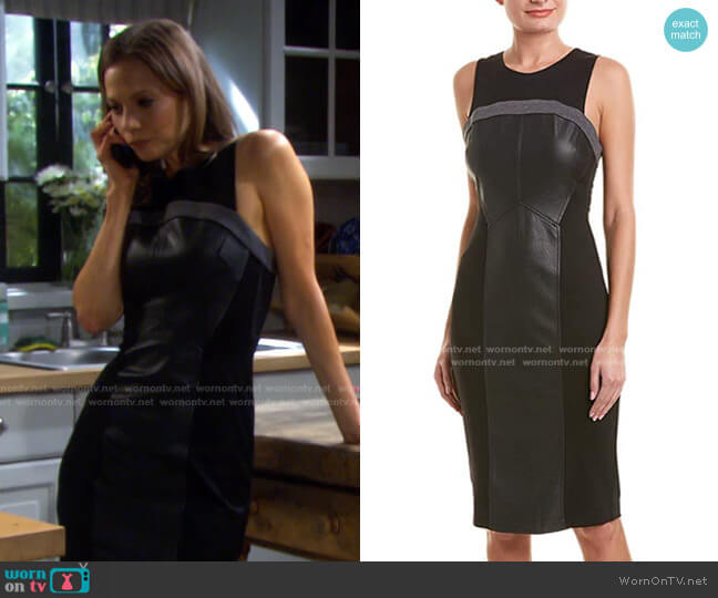 Faux Leather-Trimmed Dress by Bcbgmaxazria worn by Ava Vitali (Tamara Braun ) on Days of our Lives