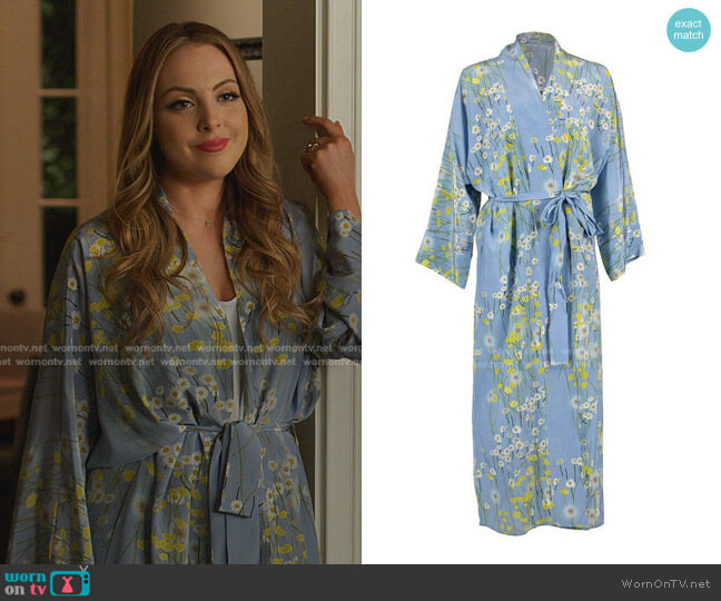 Buttercup Field Floral Silk-Crepe De Chine Robe by Bernadette worn by Fallon Carrington (Elizabeth Gillies) on Dynasty