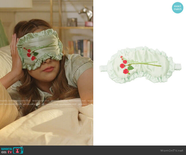 Rose-Embroidered Silk Eye Mask by Bernadette worn by Fallon Carrington (Elizabeth Gillies) on Dynasty