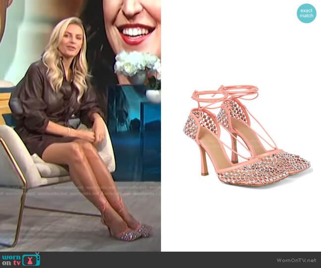 The Sparkle Stretch Leather Sandals by Bottega Veneta worn by Morgan Stewart  on E! News