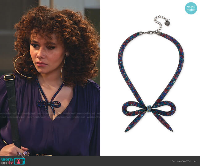 Mesh Bow Collar Necklace by Betsey Johnson worn by Jade (Talia Jackson) on Family Reunion