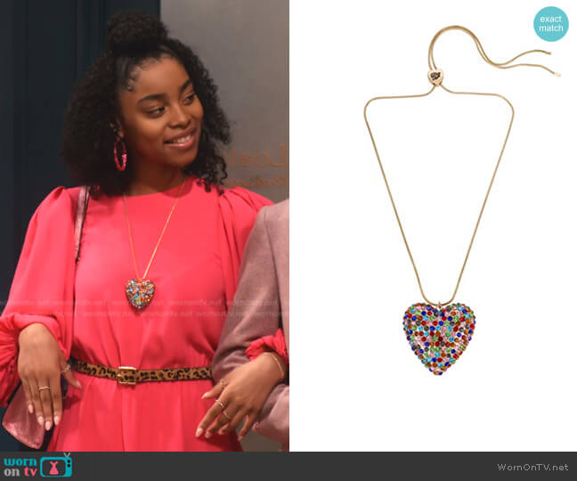 Pave Heart Pendant Slider Necklace by Betsey Johnson worn by Jadah Marie on Family Reunion