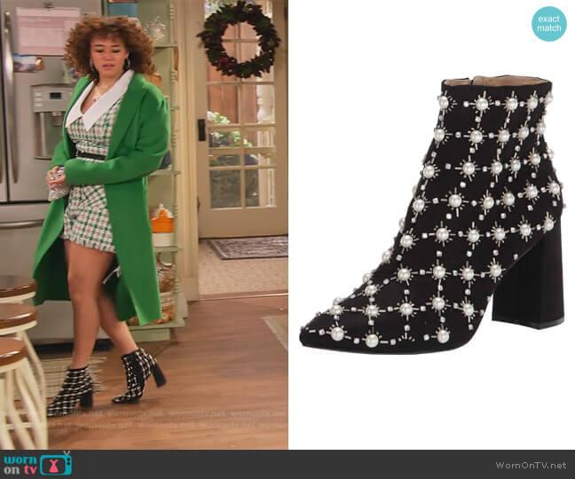 Sb-Zoie Fashion Boots by Betsey Johnson worn by Jade (Talia Jackson) on Family Reunion