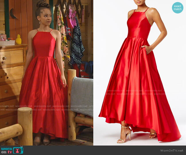 Halter Ballgown Dress by Betsy & Adam worn by Ava (Shelby Simmons) on Bunkd