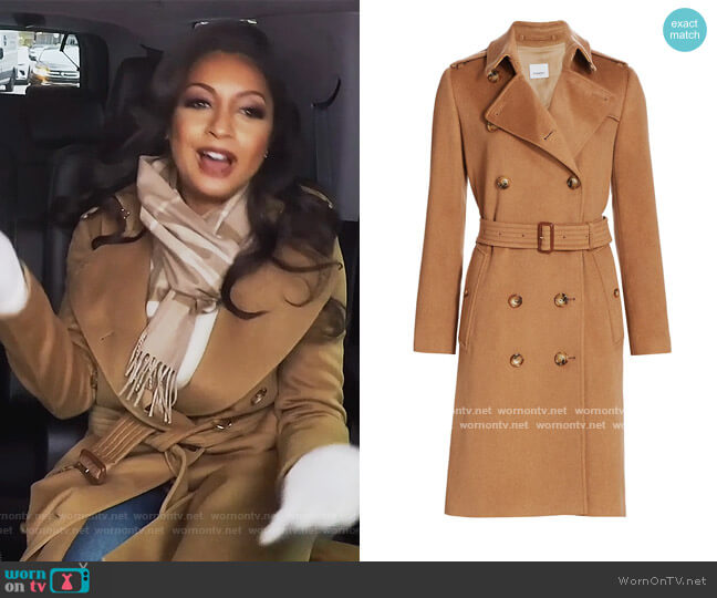 Kensington Belted Cashmere Coat by Burberry worn by Eboni K. Williams (Ebony K. Williams) on The Real Housewives of New York City