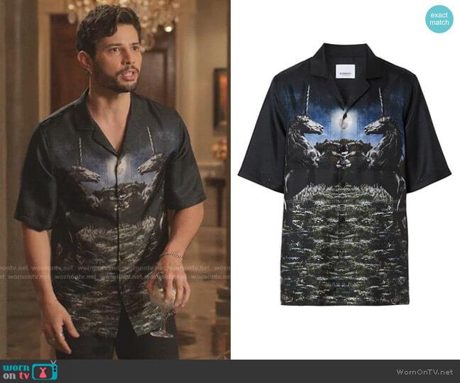 Rockwood Unicorn Meadow Print Silk Bowling Shirt by Burberry worn by Sam Flores (Rafael de la Fuente) on Dynasty