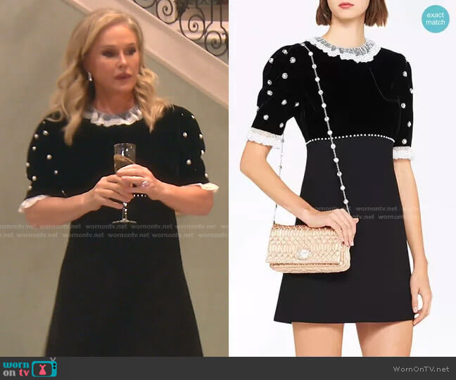 Cady and Velvet Party Dress by Miu Miu worn by Kathy Hilton  on The Real Housewives of Beverly Hills