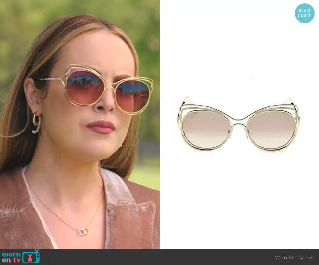 Cat Eye Sunglasses by Roberto Cavalli worn by Fallon Carrington (Elizabeth Gillies) on Dynasty