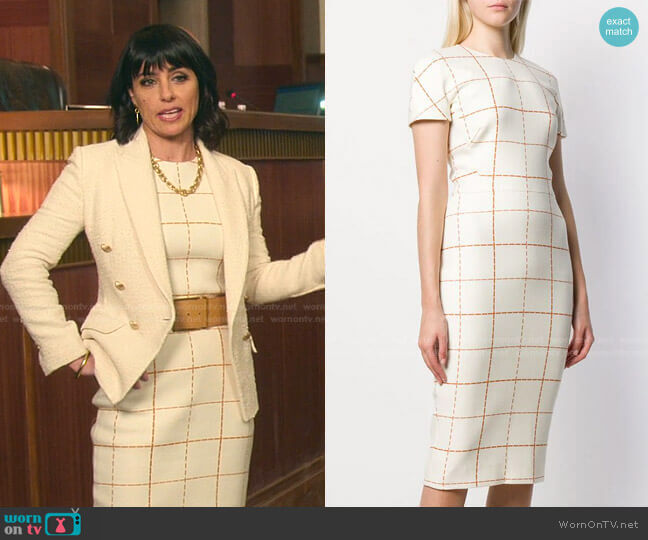 Checked Midi Dress by Victoria Beckham worn by Kathleen Gale (Constance Zimmer) on Good Trouble
