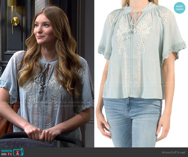 Short Sleeve Embroidered Blouse by Chelsea & Theodore worn by Alice Caroline Horton (Lindsay Arnold) on Days of our Lives