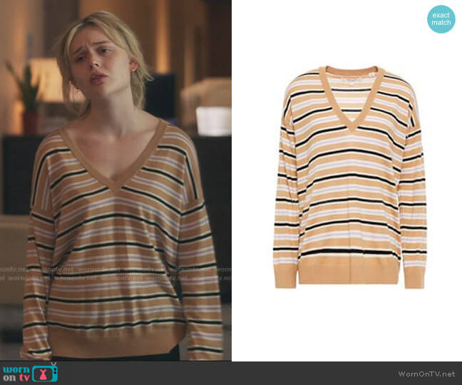 Striped Intarsia Wool and Cashmere-Vlend V-Neck Sweater by Chinti & Parker worn by Audrey Hope (Emily Alyn Lind) on Gossip Girl