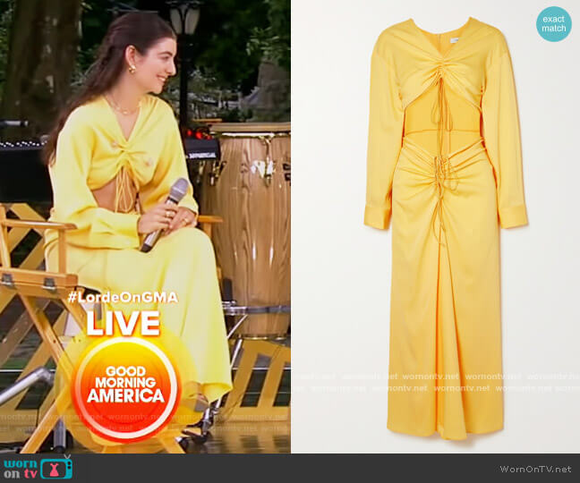 Ruched cutout woven maxi dress by Christopher Esber worn by Lorde on Good Morning America