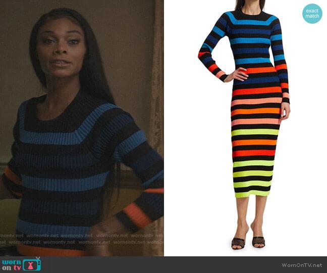 Rainbow Striped Ribbed Midi Dress by Christopher John Rogers worn by Imani (Jasmine Davis) on The Chi