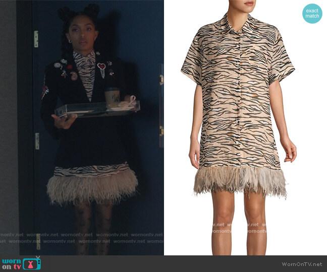 Club Tropicana Feather-trimmed Tiger Shirtdress by Le Superbe worn by Zoey Johnson (Yara Shahidi) on Grown-ish
