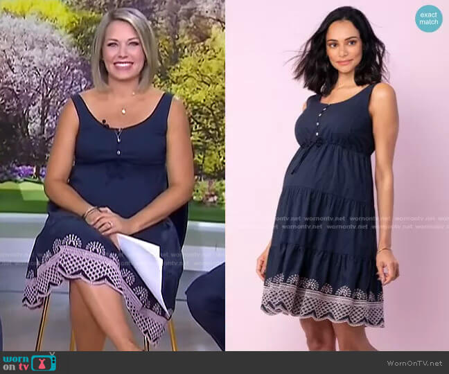 Cotton Embroidered Maternity Sundress by Seraphine Maternity worn by Dylan Dreyer  on Today