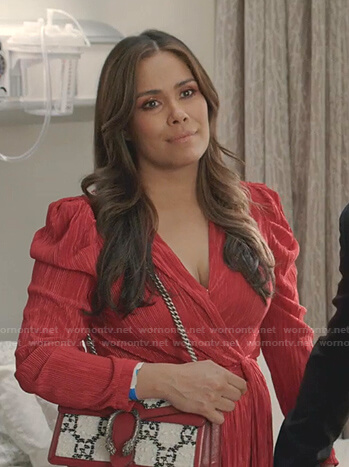 Cristal's red puff sleeve dress on Dynasty