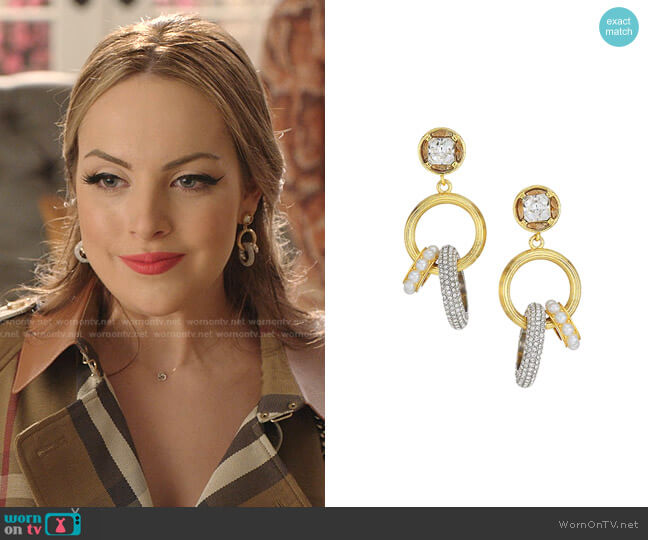 Gemma 12K Goldplated, Swarovski Crystal & Faux Pearl Charm Drop-Hoop Earrings by Demarson worn by Fallon Carrington (Elizabeth Gillies) on Dynasty