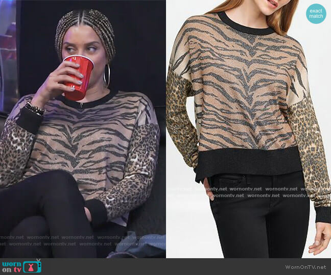 Mixed Animal Print Sweater by DKNY worn by Robyn Dixon  on The Real Housewives of Potomac