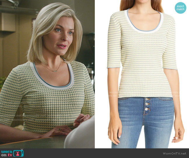 Dany Rib Knit Top by Veronica Beard worn by Stephanie Borden (Kylee Evans) on Good Witch