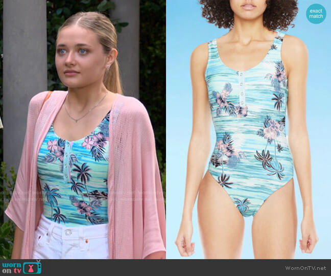 Decree Button Front Womens Floral One Piece Swimsuit worn by Faith Newman (Reylynn Caster) on The Young & the Restless