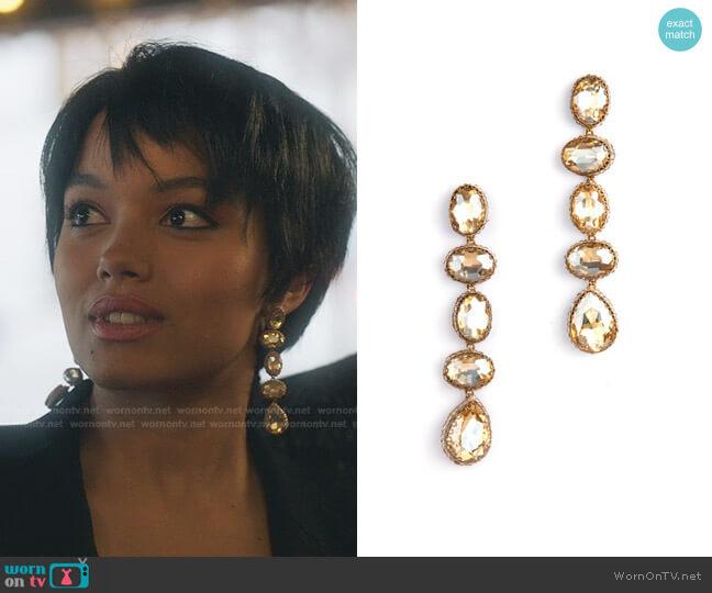 Tyra Drop Earrings by Deepa Gurnani worn by Zoya Lott (Whitney Peak) on Gossip Girl