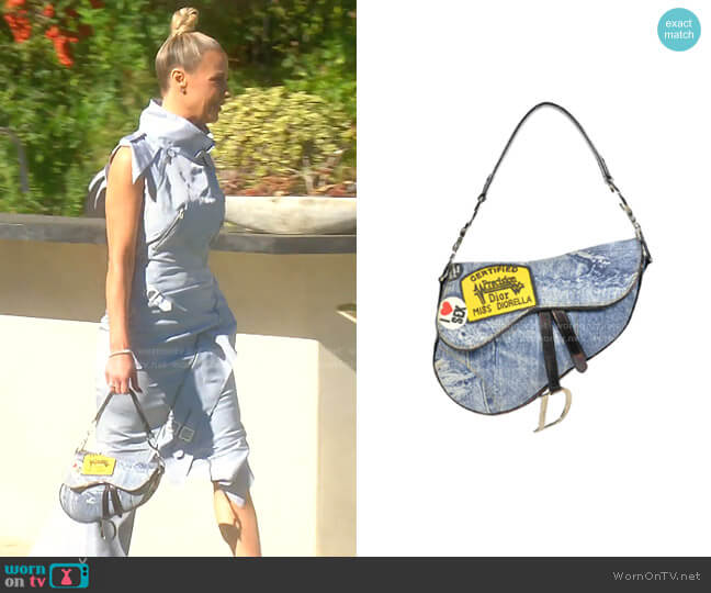 Faded Blue Printed Denim Miss Diorella Saddle Bag by Dior worn by Dorit Kemsley  on The Real Housewives of Beverly Hills